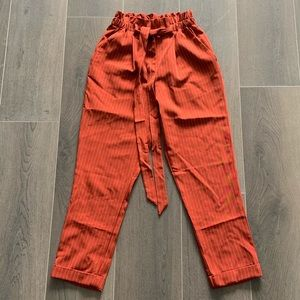 Paper Bag waist pants in Burnt Orange